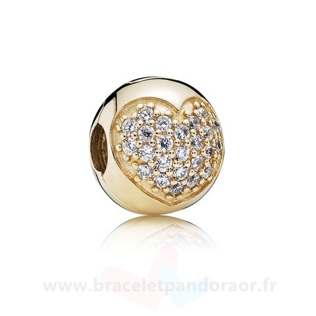 Charme Pandora Pandora Collections Amour De Ma Vie Clip Clear Cz 14K Or