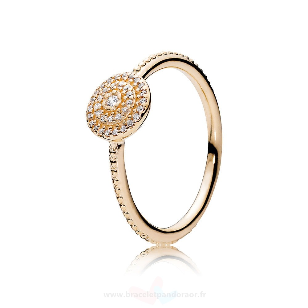 Charme Pandora Pandora Collections Bague Elegance Rayonnante 14K Or Clear Cz