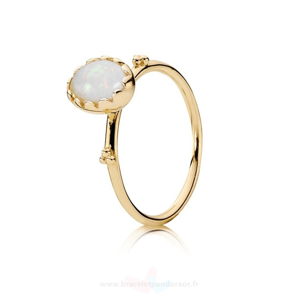 Charme Pandora Pandora Collections Bague Sweet Sweetness Blanc Opal 14K Or