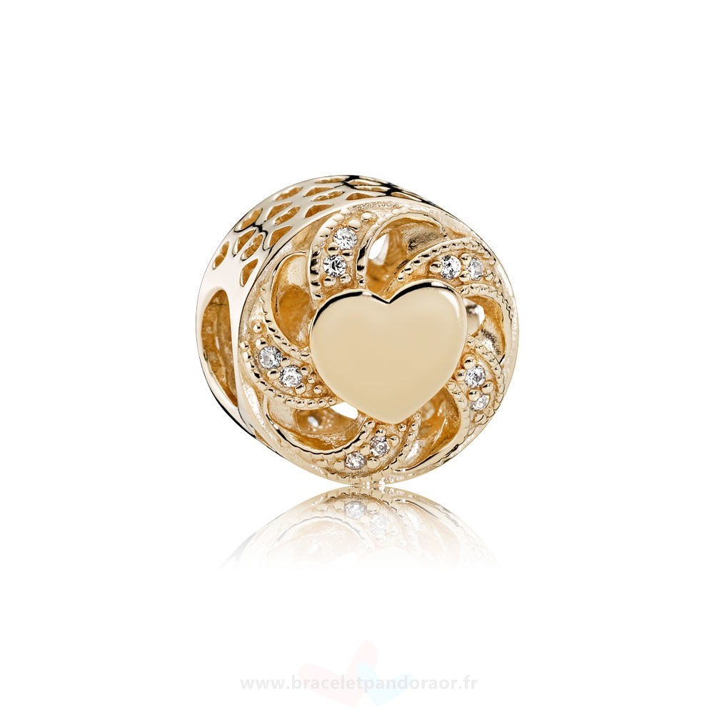 Charme Pandora Pandora Collections Breloque Coeur Coeur 14K Or Clear Cz