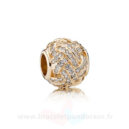 Charme Pandora Pandora Collections Breloque Sparkling Amour Knot 14K Or Clear Cz