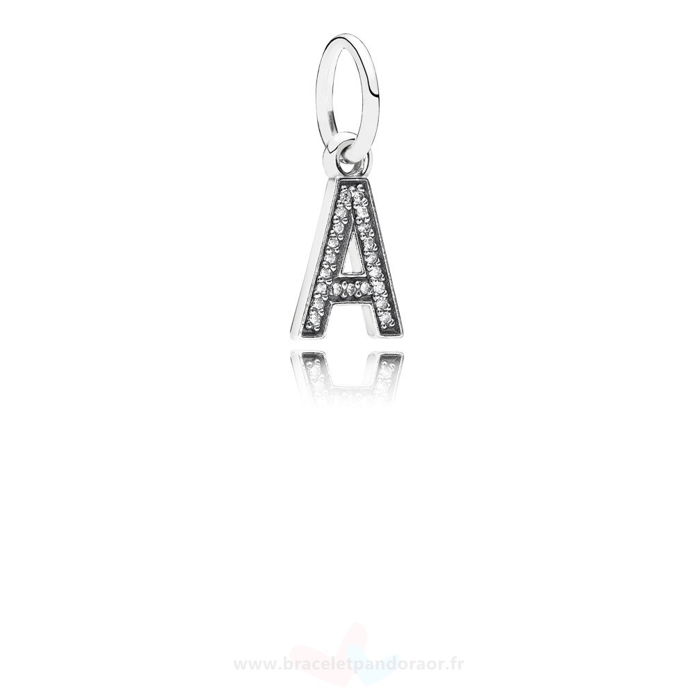 Charme Pandora Pandora Alphabet Symbols Charms Lettre A Dangle Charm Clear Cz