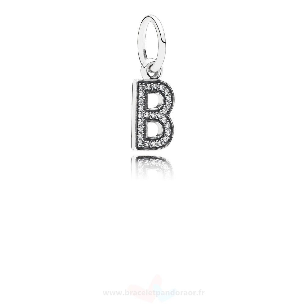 Charme Pandora Pandora Alphabet Symbols Charms Lettre B Dangle Charm Clear Cz