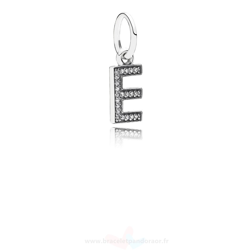 Charme Pandora Pandora Alphabet Symbols Charms Lettre E Dangle Charm Clear Cz