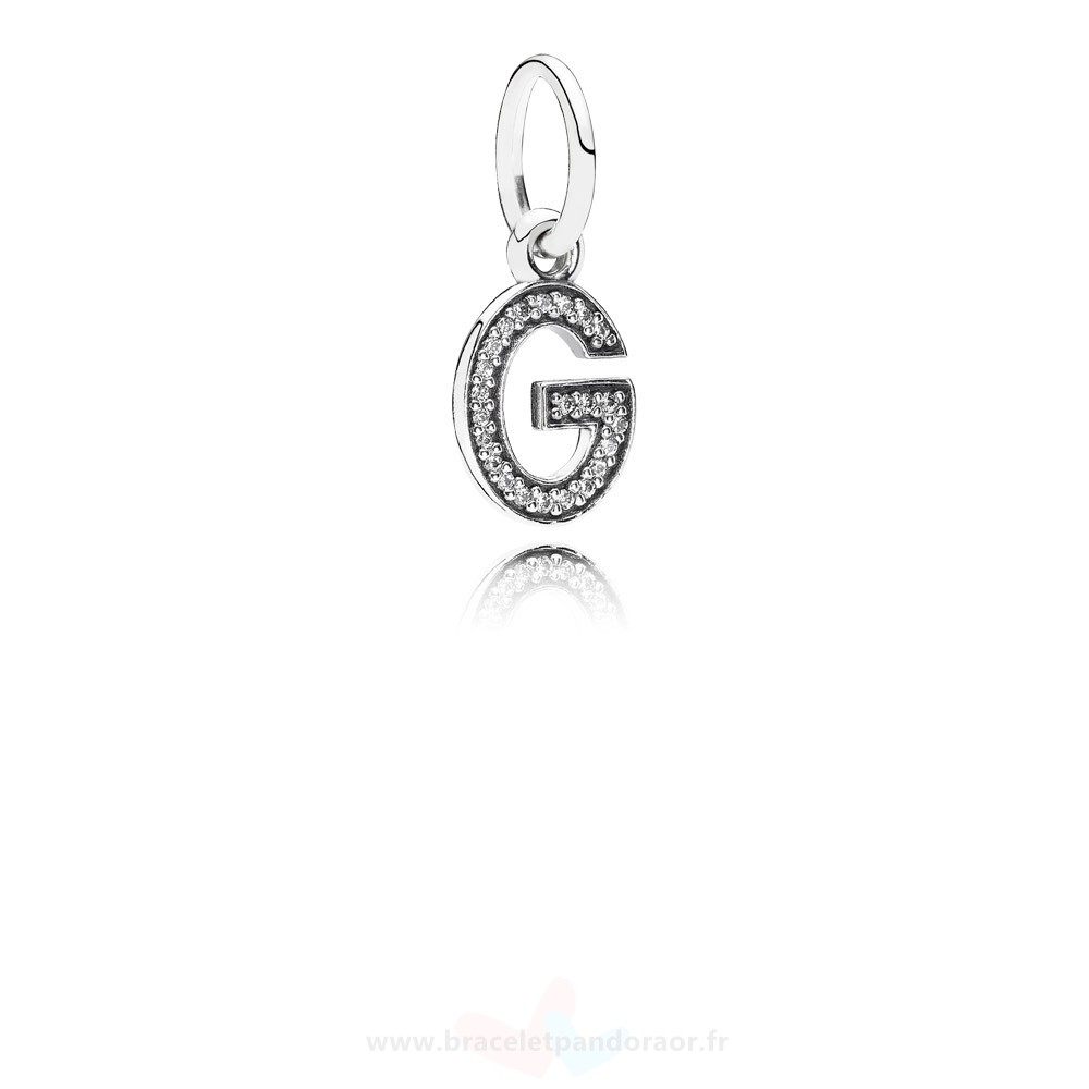 Charme Pandora Pandora Alphabet Symbols Charms Lettre G Dangle Charm Clear Cz