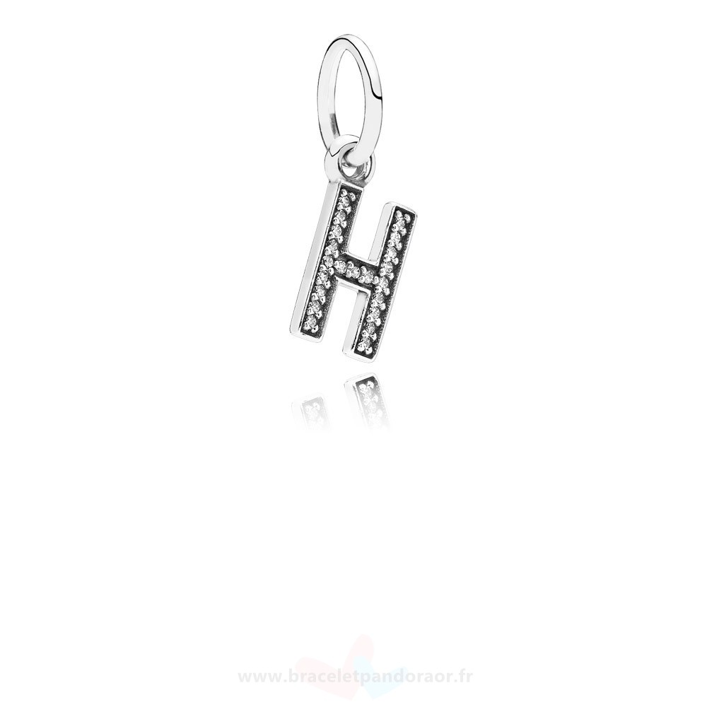 Charme Pandora Pandora Alphabet Symbols Charms Lettre H Dangle Charm Clear Cz