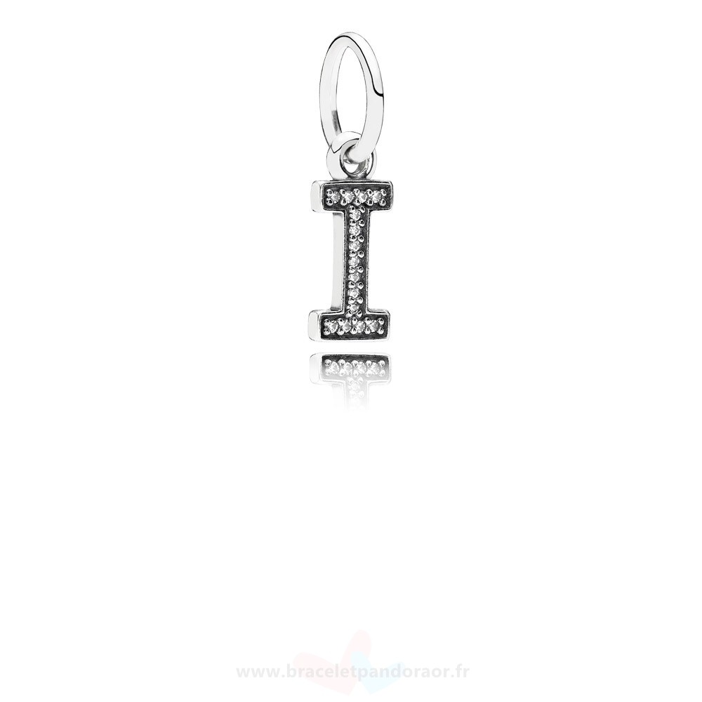 Charme Pandora Pandora Alphabet Symbols Charms Lettre I Dangle Charm Clear Cz