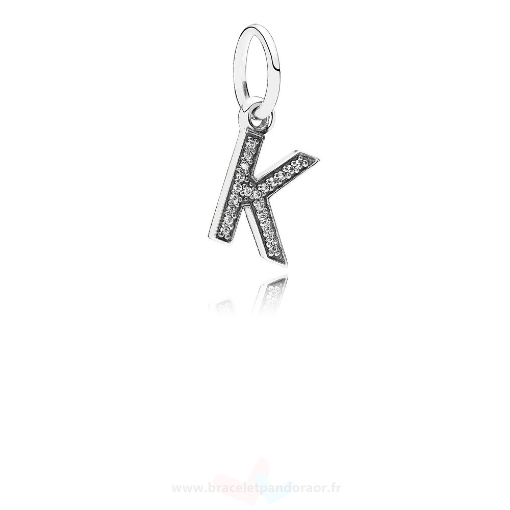 Charme Pandora Pandora Alphabet Symbols Charms Lettre K Dangle Charm Clear Cz