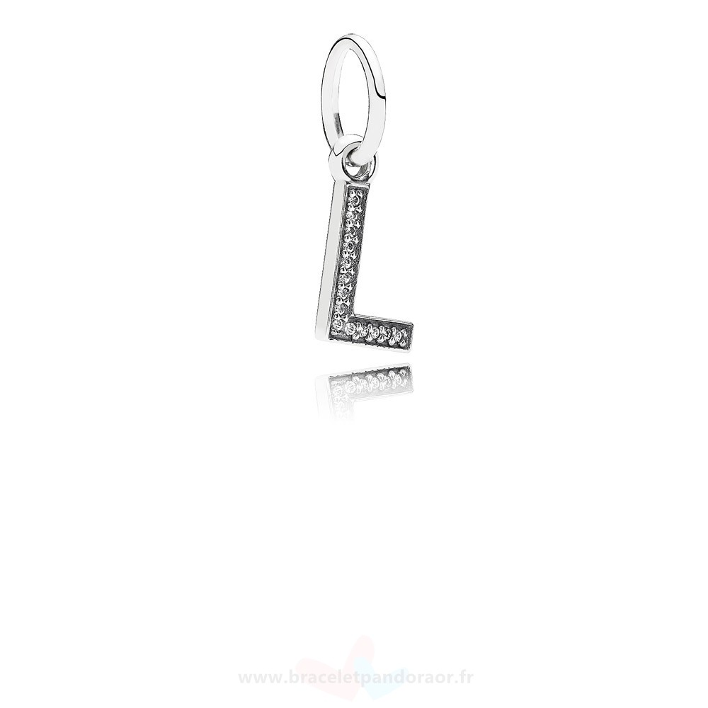 Charme Pandora Pandora Alphabet Symbols Charms Lettre L Dangle Charm Clear Cz