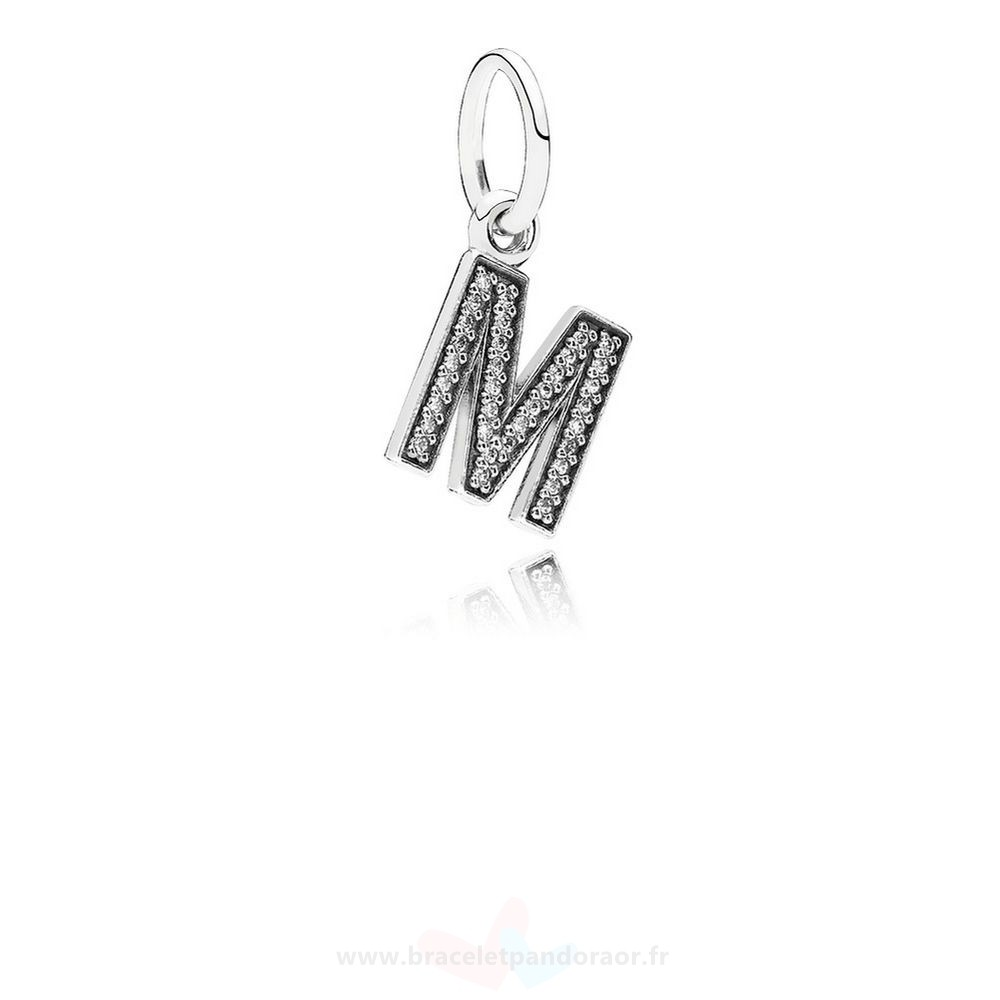 Charme Pandora Pandora Alphabet Symbols Charms Lettre M Dangle Charm Clear Cz