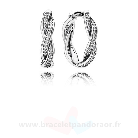 Charme Pandora Twist Of Fate Hoop Boucles D'Oreilles Clear Cz