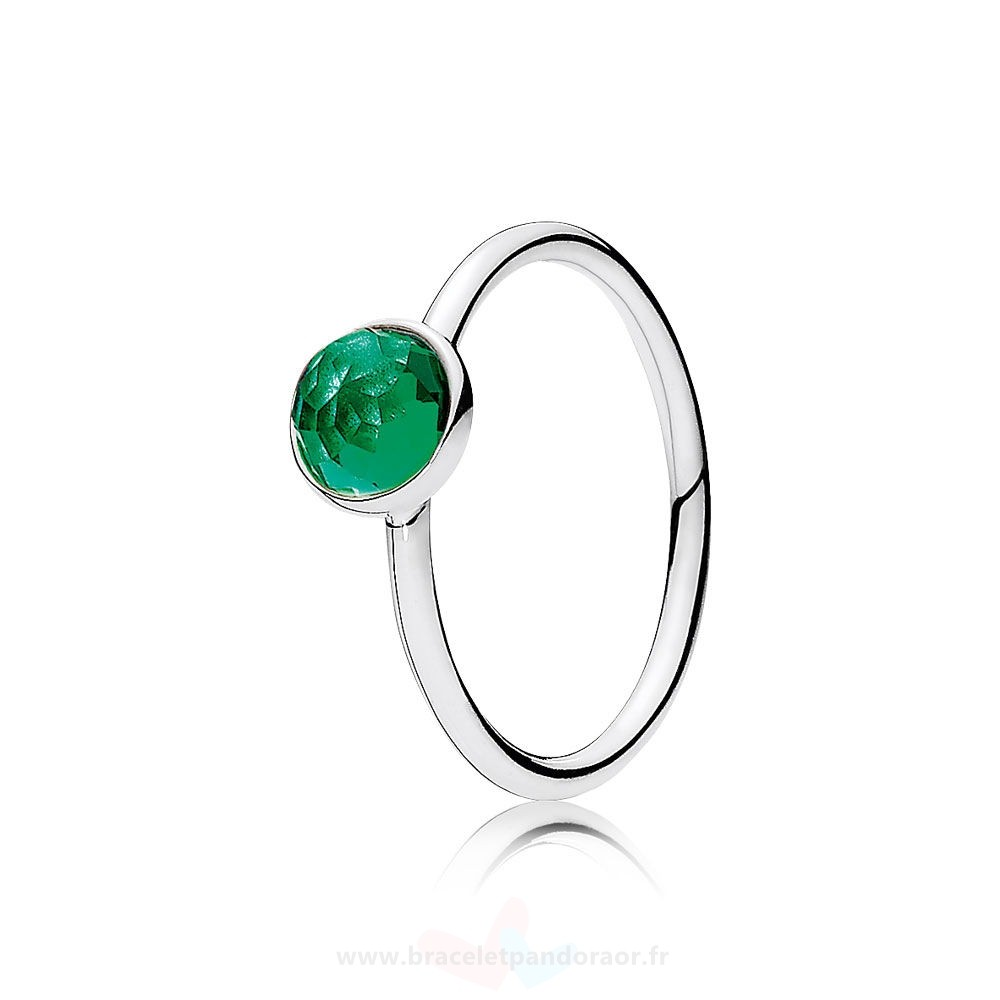 Charme Pandora Pandora Bagues May Gouttelette Royal Vert Crystal
