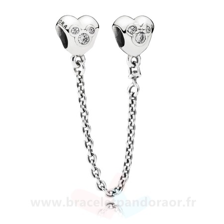 Charme Pandora Chaines De Securite Disney Coeur De Mickey Chaine De Securite Clear Cz