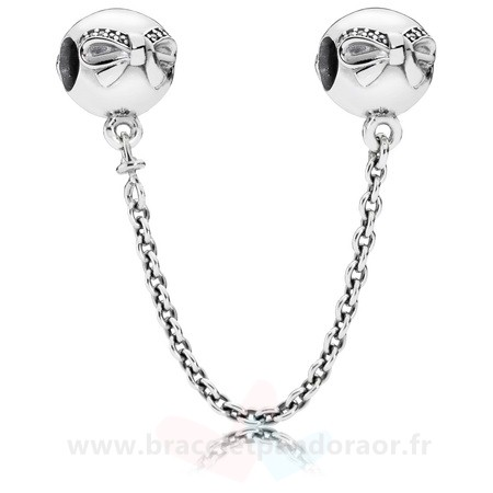 Charme Pandora Pandora Chaines De Securite Dainty Bow Safety Chain Clear Cz