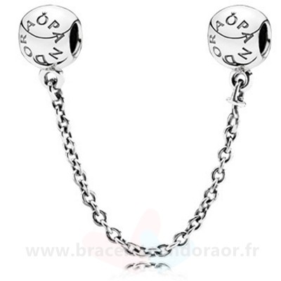 Charme Pandora Pandora Chaines De Securite Pandora 925 Logo Safety Chain