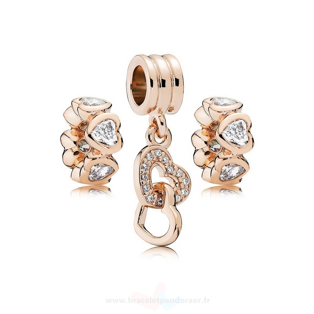 Charme Pandora Pandora Rose Interlocked Coeurs Charm Pack