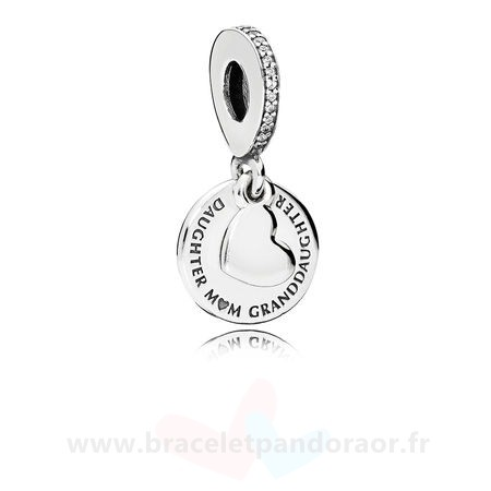 Charme Pandora Danglees Trois Generations Dangle Clear Cz
