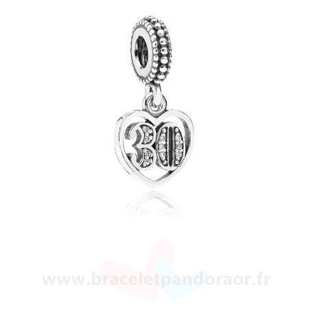 Charme Pandora Dangles 30 Annees D'Amour Dangle Clear Cz