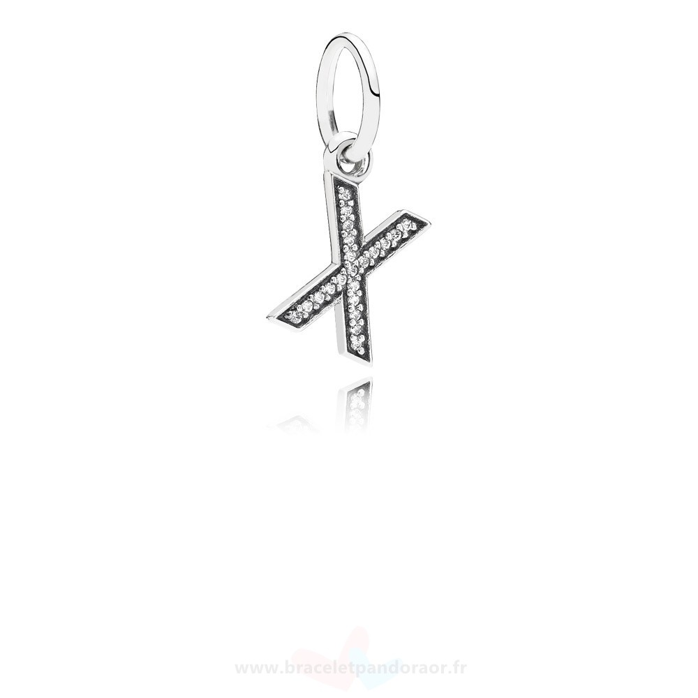 Charme Pandora Pandora Dangle Charms Lettre X Dangle Charm Clear Cz