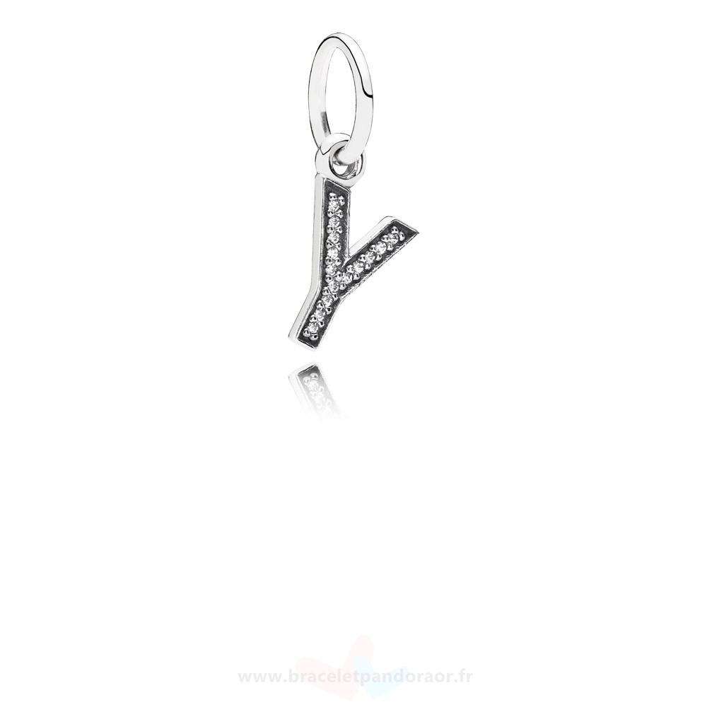 Charme Pandora Pandora Dangle Charms Lettre Y Dangle Charm Clear Cz