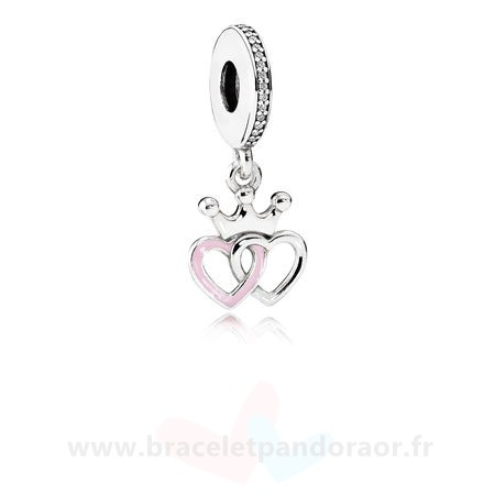 Charme Pandora Pandora Fairy Tale Charms Crowned Coeurs Dangle Charm Orchid Rose Enamel Clear Cz