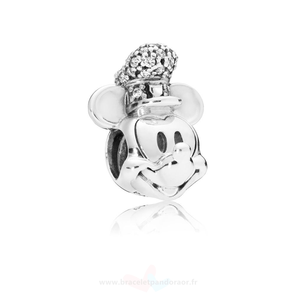 Charme Pandora Charme Disney, Version Portrait De Mickey Steamboat Willie Scintillant