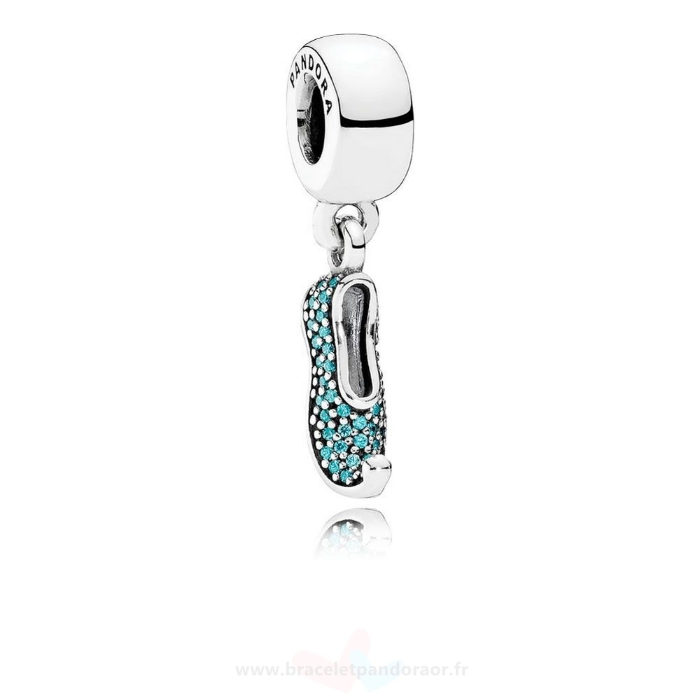 Charme Pandora Disney Jasmine'S Mousseux Slipper Dangle Charm Teal Cz