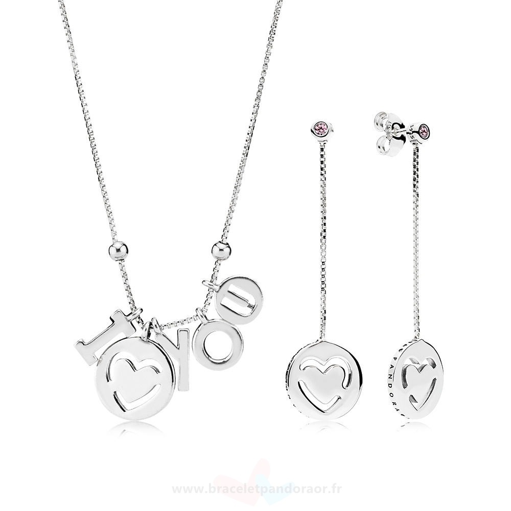 Charme Pandora I Love You Colliers And Boucles D'Oreilles Gift Set