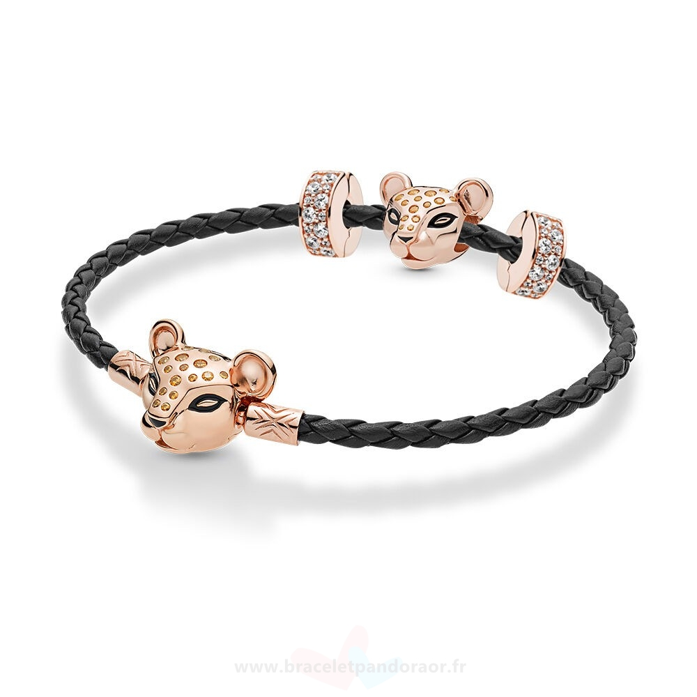 Charme Pandora Pandora Rose Leather Lioness Bracelets Ensemble