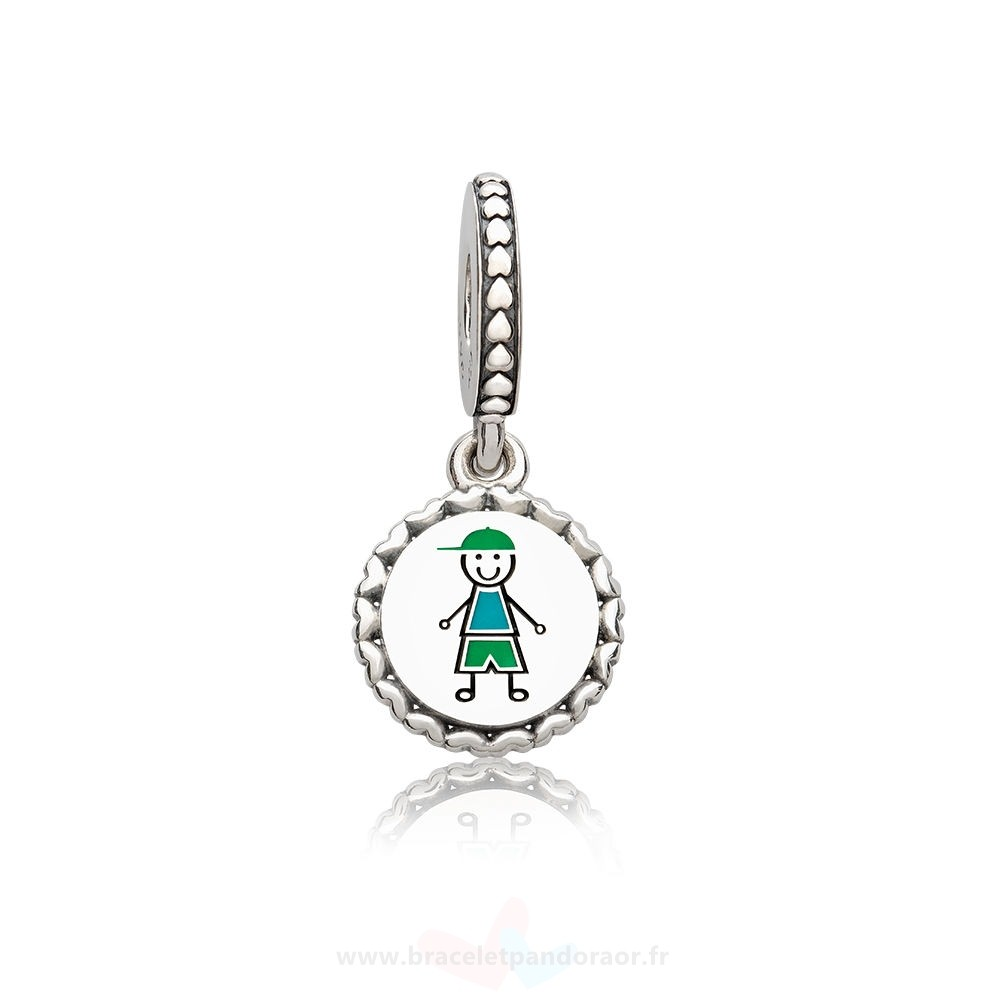 Charme Pandora Pandora Charms Famille Garcon Stick Figure Dangle Charm Mixed Enamel