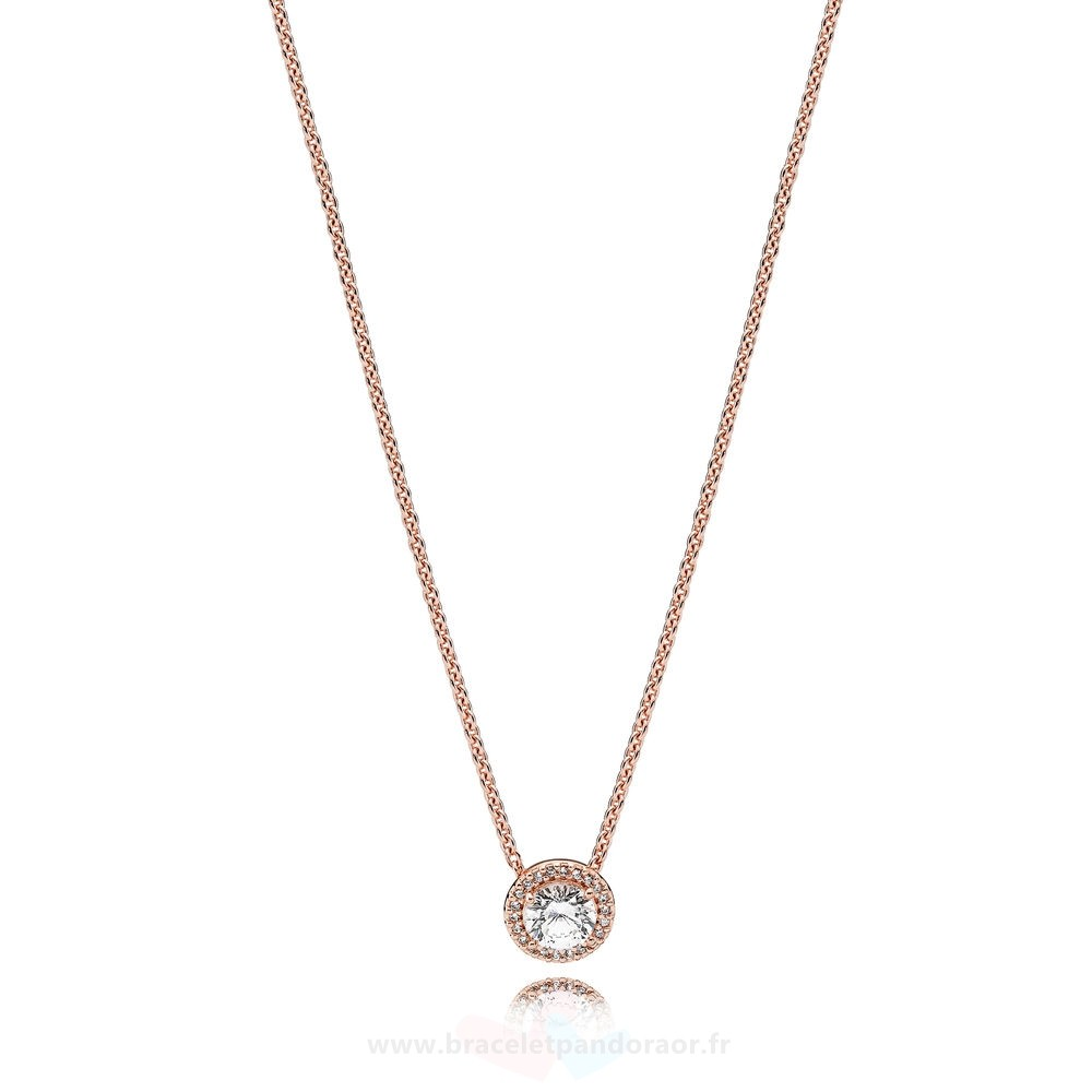 Charme Pandora Pandora Collection D'Hiver Classic Elegance Collier Rose Clear Cz