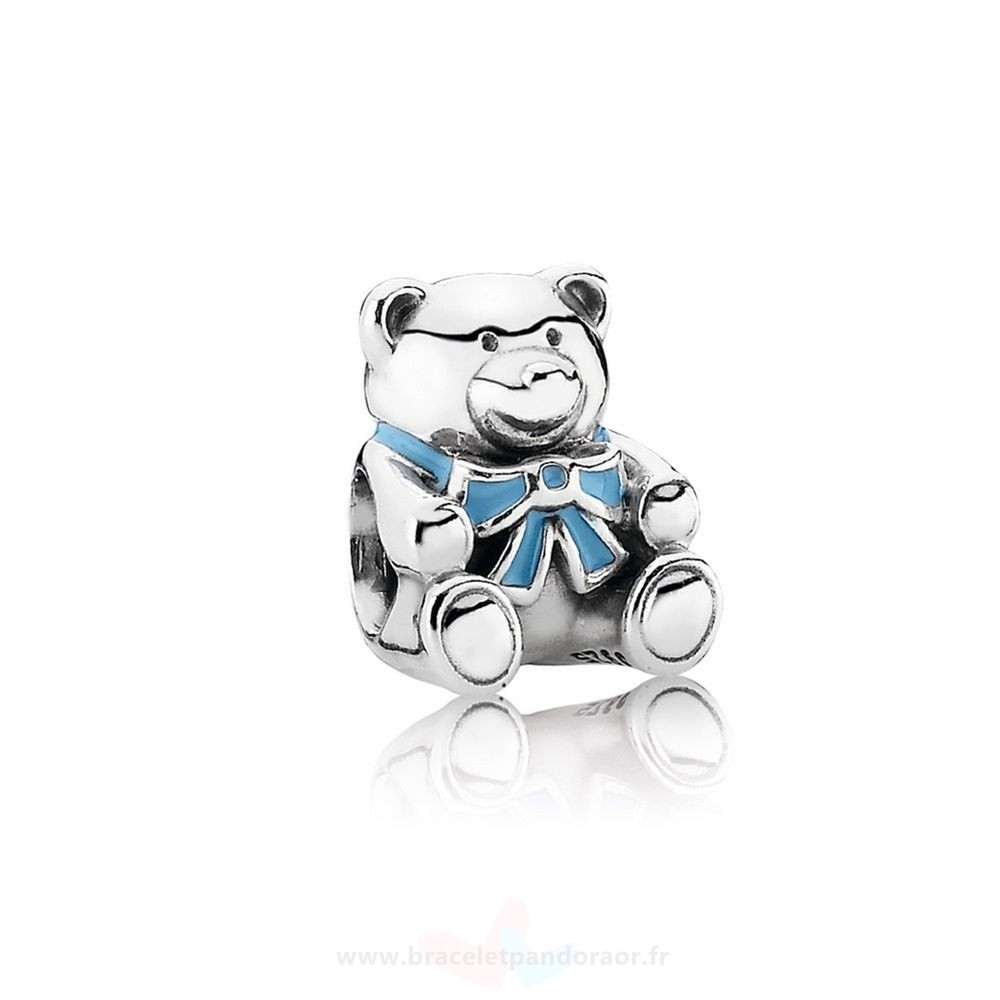 Charme Pandora Charms Famille C'Est A Boy Teddy Ours Blue Email