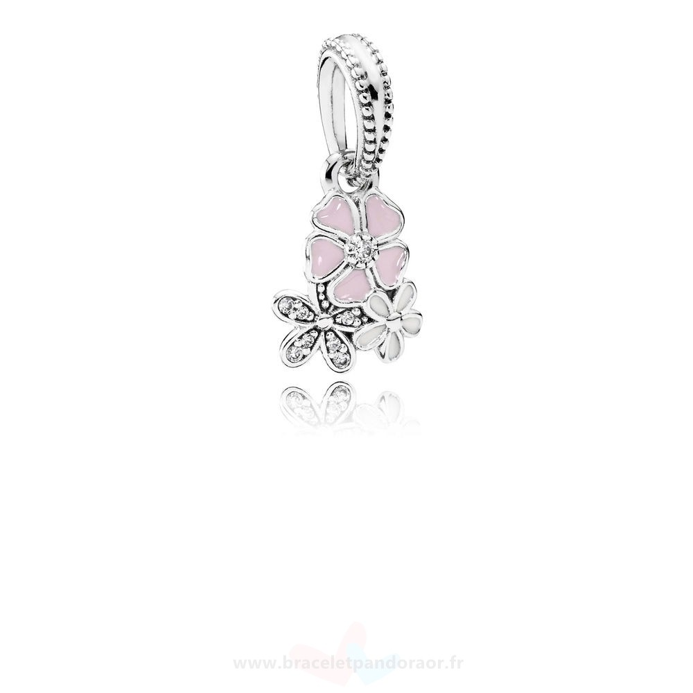 Charme Pandora Pandora Nature Charms Poetique Fleurs Dangle Charm Melange Emaux Clear Cz
