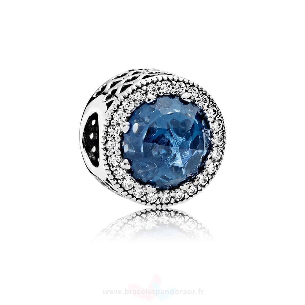 Charme Pandora Collection Coeurs De Radiant Moonlight Blue Crystal Clear Cz