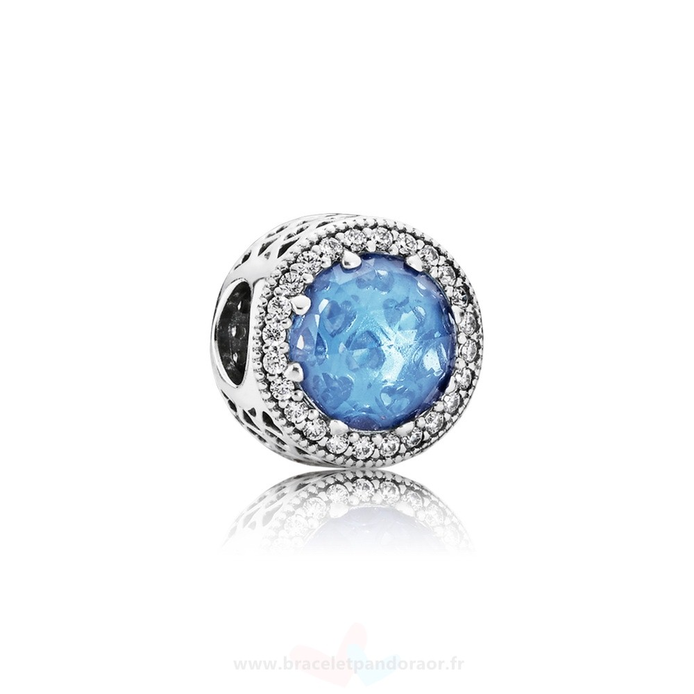 Charme Pandora Collection Coeurs De Radiant Sky Blue Crystal Clear Cz