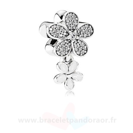 Charme Pandora Pandora Paillettes Paves Charms Dazzling Daisy Duo Blanc Email Clear Cz